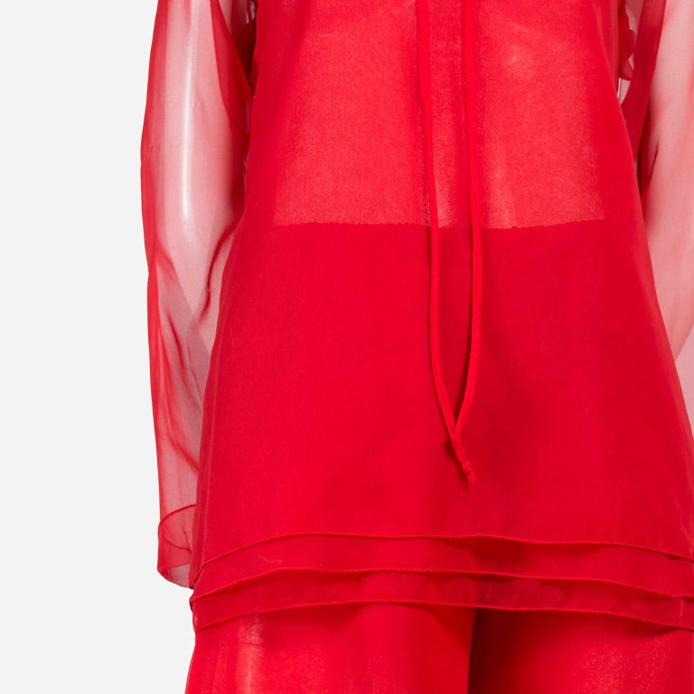 1970s Stehpen Burrows Red Chiffon Evening Pantsuit Ensemble Dress Alternative In Excellent Condition For Sale In Portland, OR