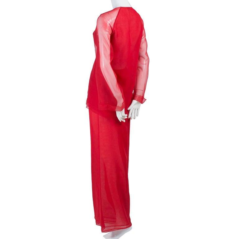 Women's 1970s Stehpen Burrows Red Chiffon Evening Pantsuit Ensemble Dress Alternative For Sale