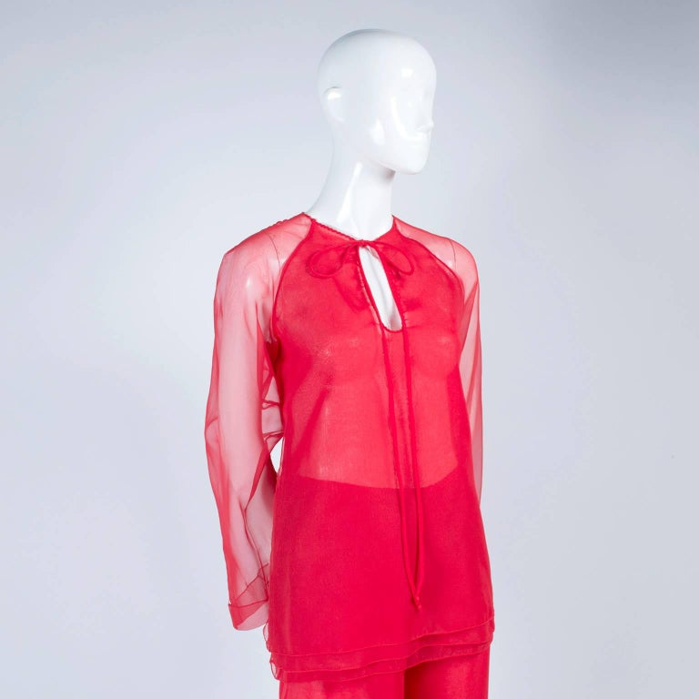1970s Stehpen Burrows Red Chiffon Evening Pantsuit Ensemble Dress Alternative For Sale 1