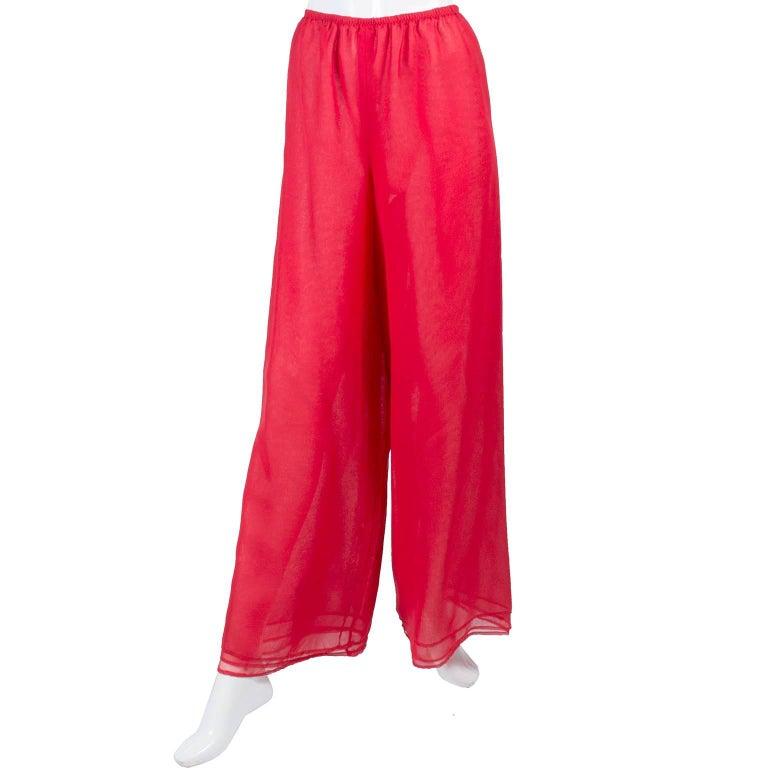 1970s Stehpen Burrows Red Chiffon Evening Pantsuit Ensemble Dress Alternative For Sale 2