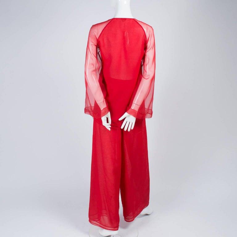 1970s Stehpen Burrows Red Chiffon Evening Pantsuit Ensemble Dress Alternative For Sale 3