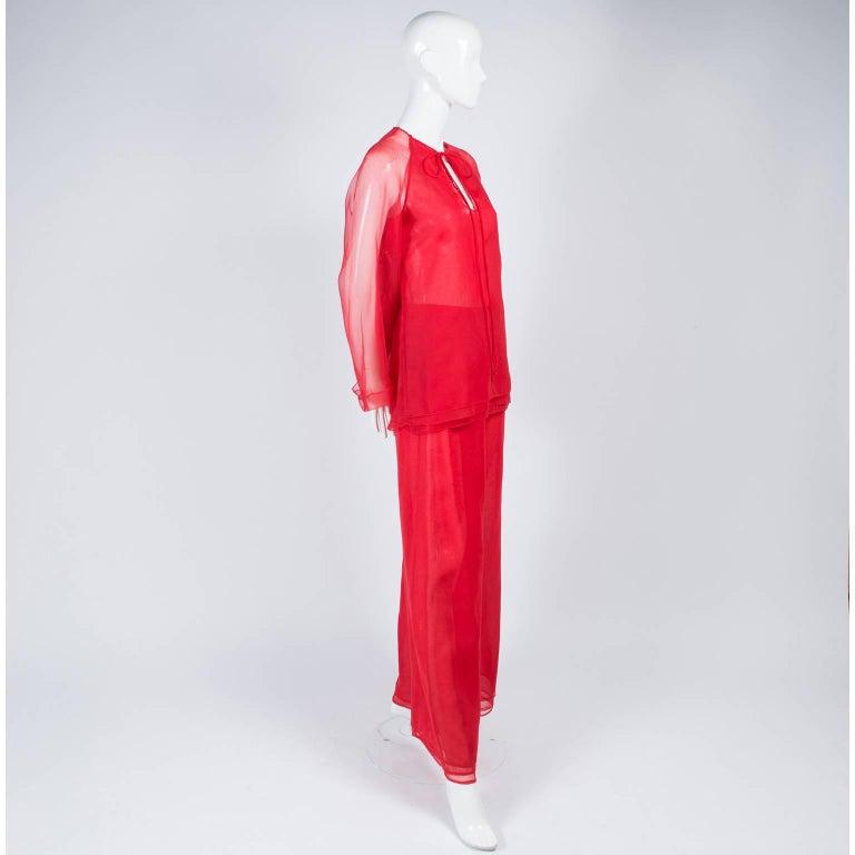 1970s Stehpen Burrows Red Chiffon Evening Pantsuit Ensemble Dress Alternative For Sale 5