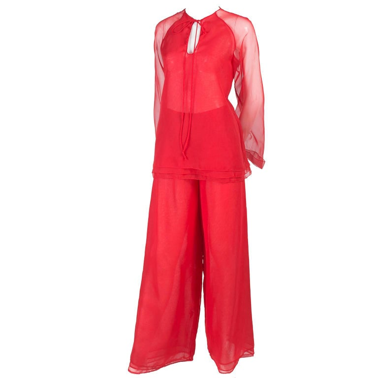 1970s Stehpen Burrows Red Chiffon Evening Pantsuit Ensemble Dress Alternative