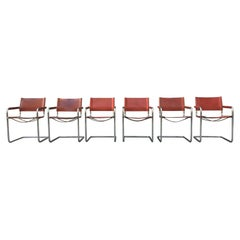 1970s Stendig Leather and Chrome Dining Chairs, a Set of 6