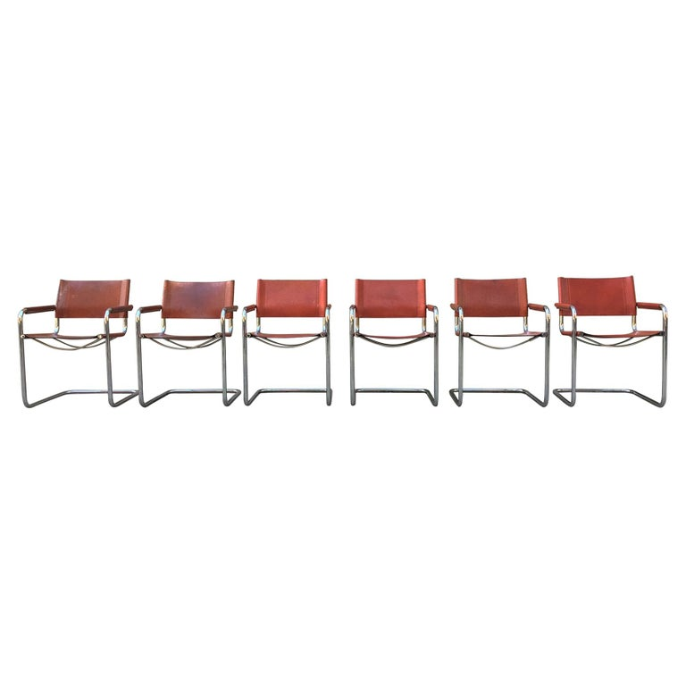 1970s Stendig Leather and Chrome Dining Chairs, a Set of 6 For Sale