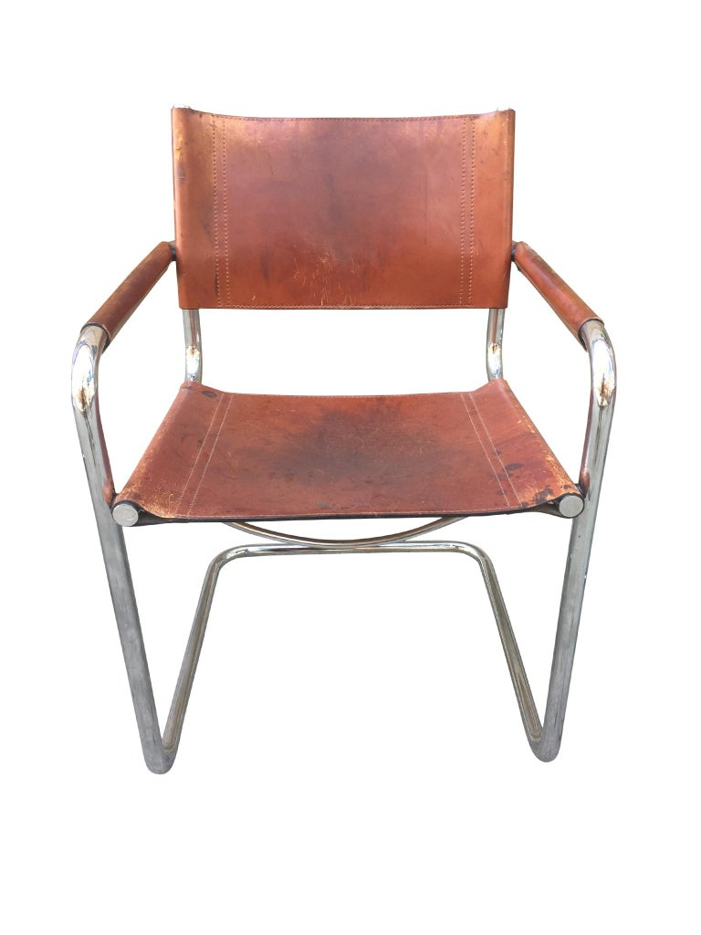 1970s Stendig Leather and Chrome Dining Chairs, a Set of 6 For Sale 4
