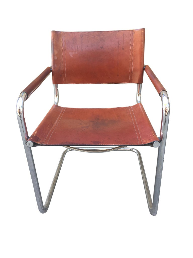1970s Stendig Leather and Chrome Dining Chairs, a Set of 6 For Sale 5