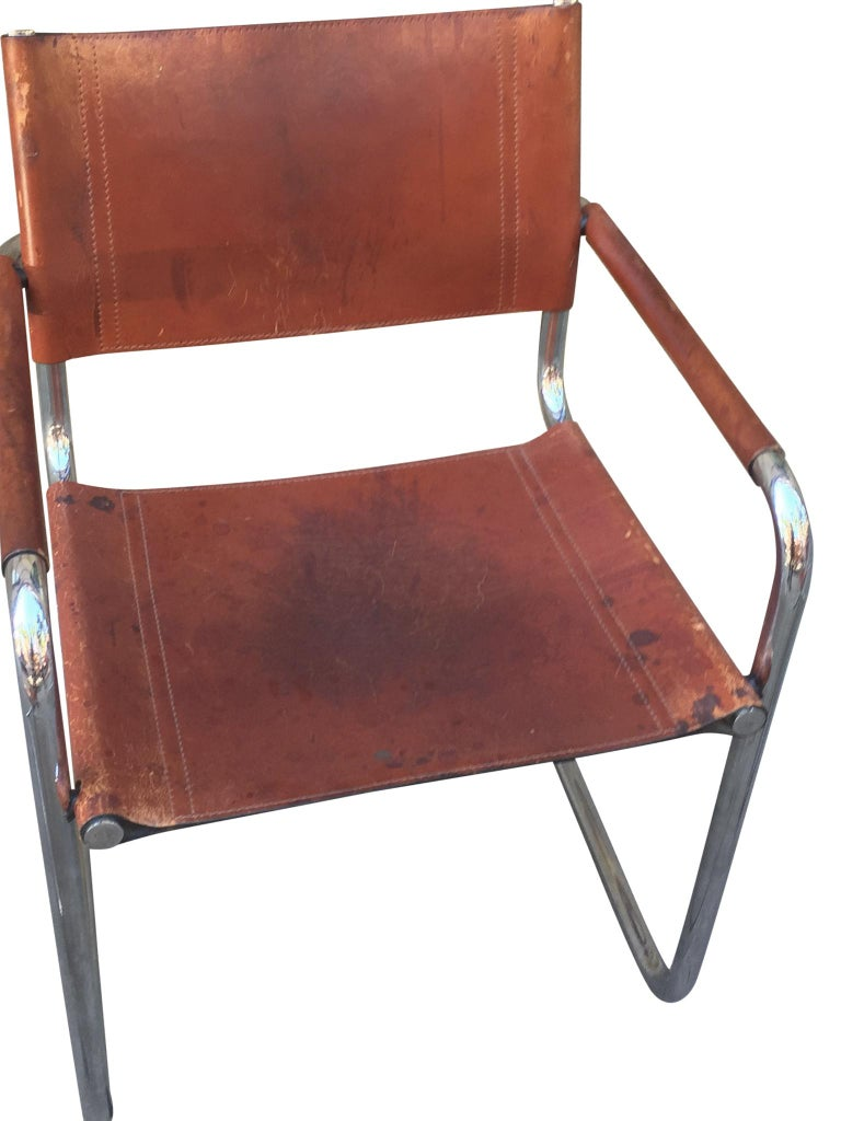 1970s Stendig Leather and Chrome Dining Chairs, a Set of 6 For Sale 6