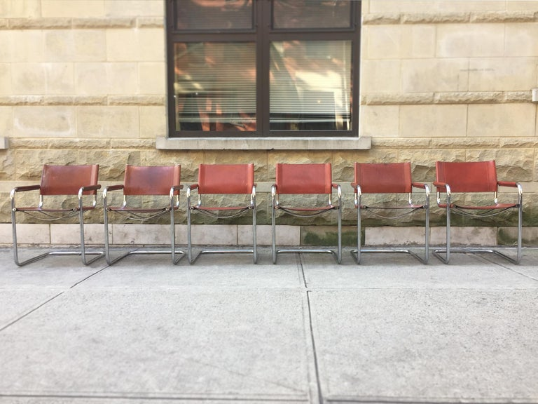 1970s Stendig Leather and Chrome Dining Chairs, a Set of 6 For Sale 10