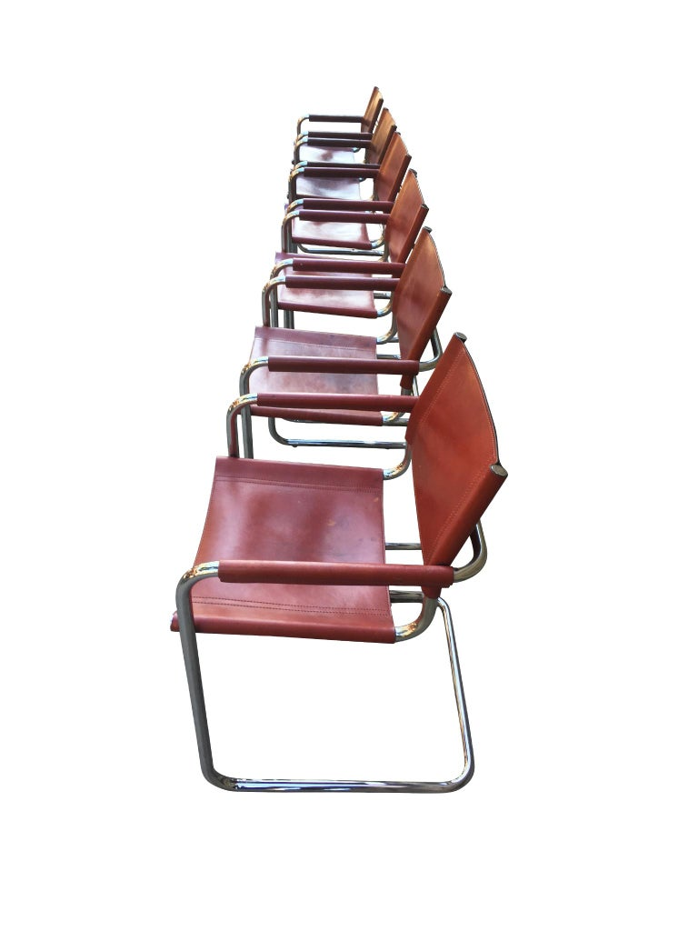 Bauhaus 1970s Stendig Leather and Chrome Dining Chairs, a Set of 6 For Sale