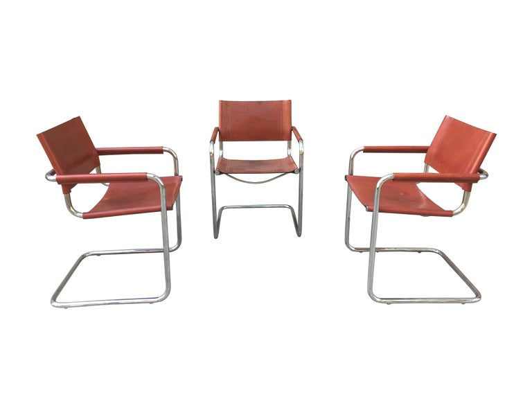Italian 1970s Stendig Leather and Chrome Dining Chairs, a Set of 6 For Sale