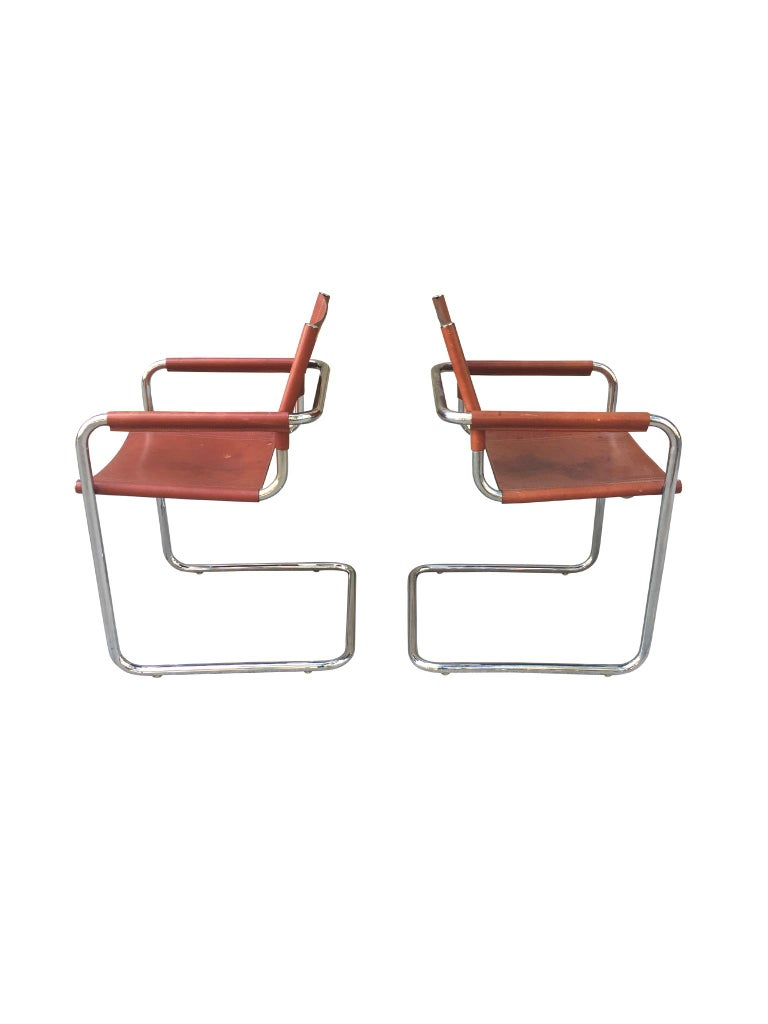 1970s Stendig Leather and Chrome Dining Chairs, a Set of 6 In Fair Condition For Sale In New York, NY