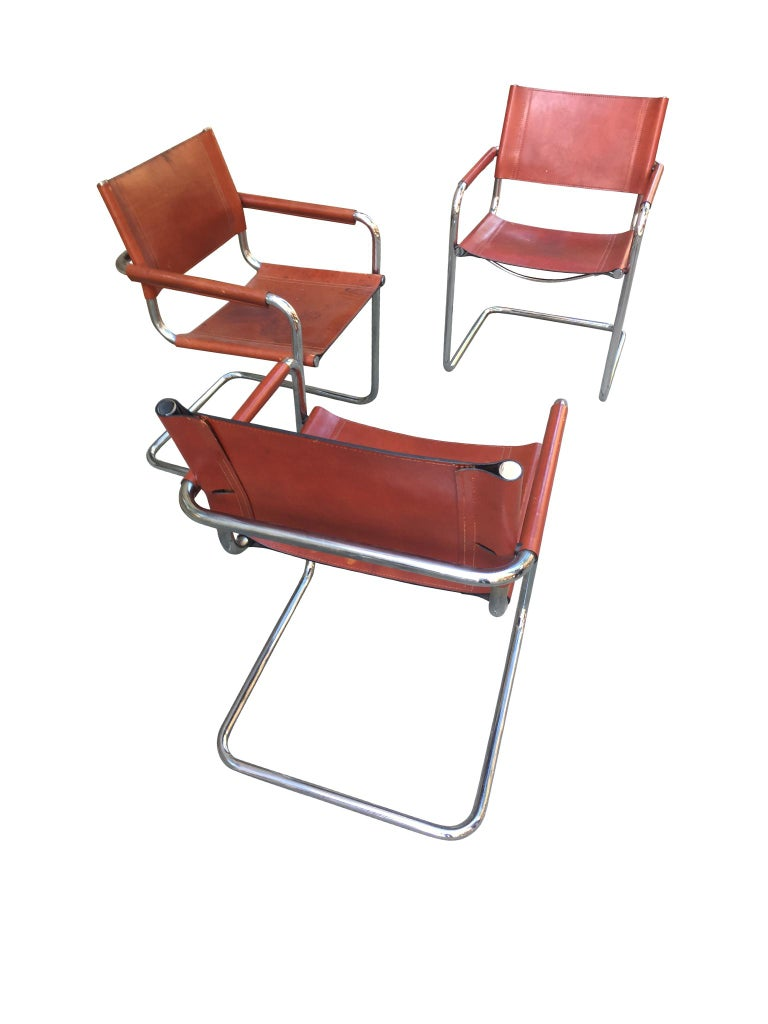 Late 20th Century 1970s Stendig Leather and Chrome Dining Chairs, a Set of 6 For Sale