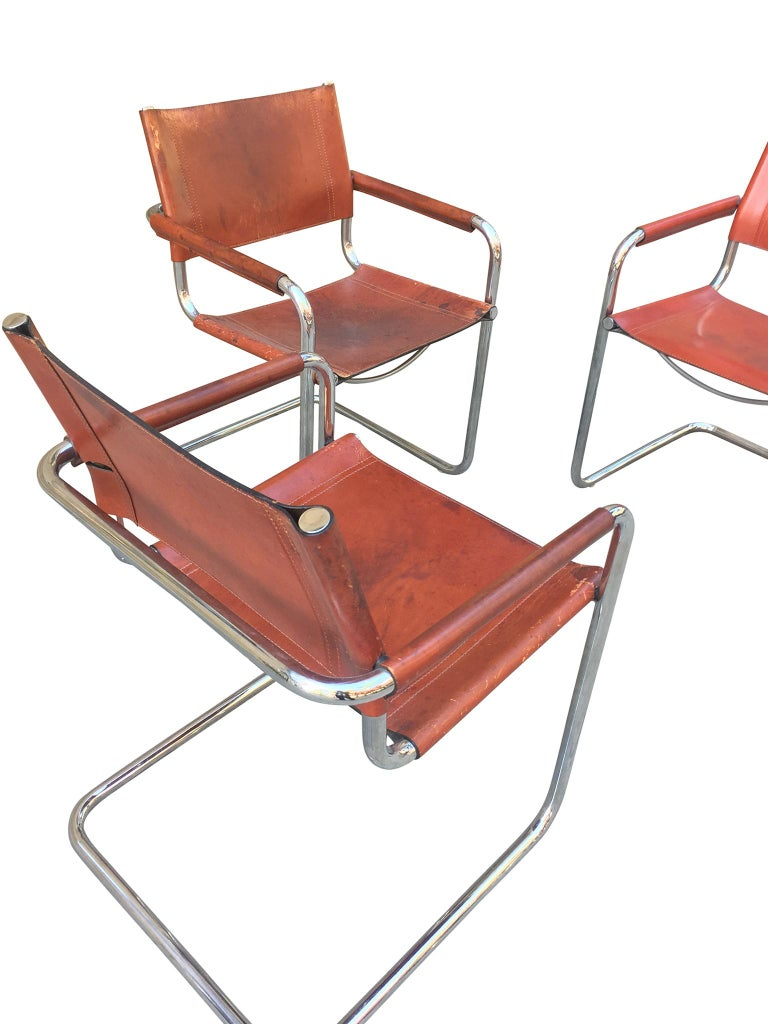 1970s Stendig Leather and Chrome Dining Chairs, a Set of 6 For Sale 1