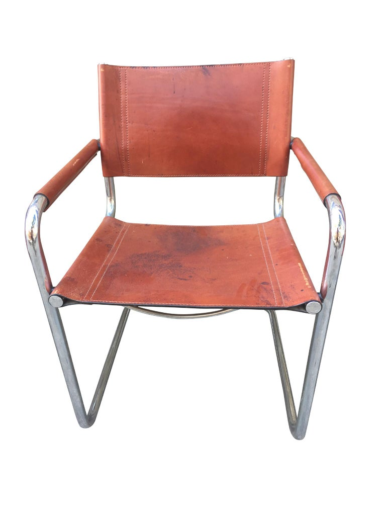 1970s Stendig Leather and Chrome Dining Chairs, a Set of 6 For Sale 2