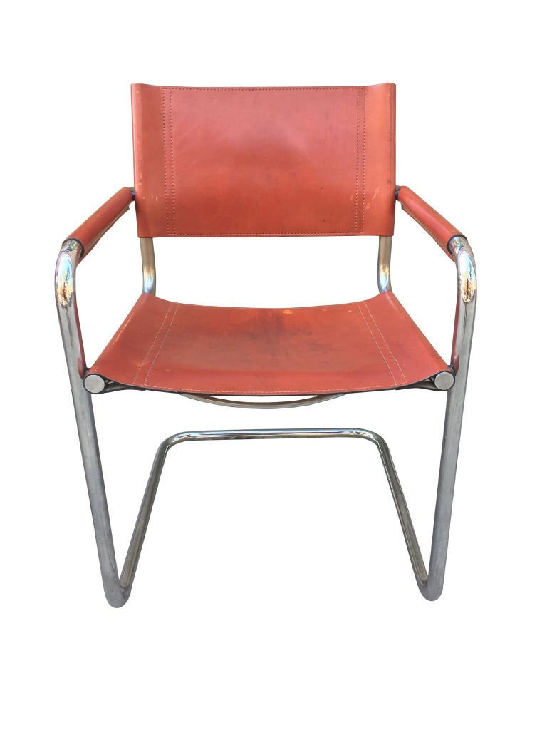 1970s Stendig Leather and Chrome Dining Chairs, a Set of 6 For Sale 3