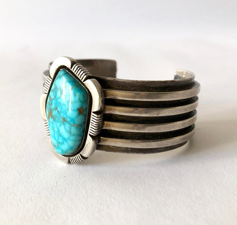 Heavy sterling silver and turquoise Navajo bracelet, circa 1970's.  Bracelet has an inside circumference of 6.5