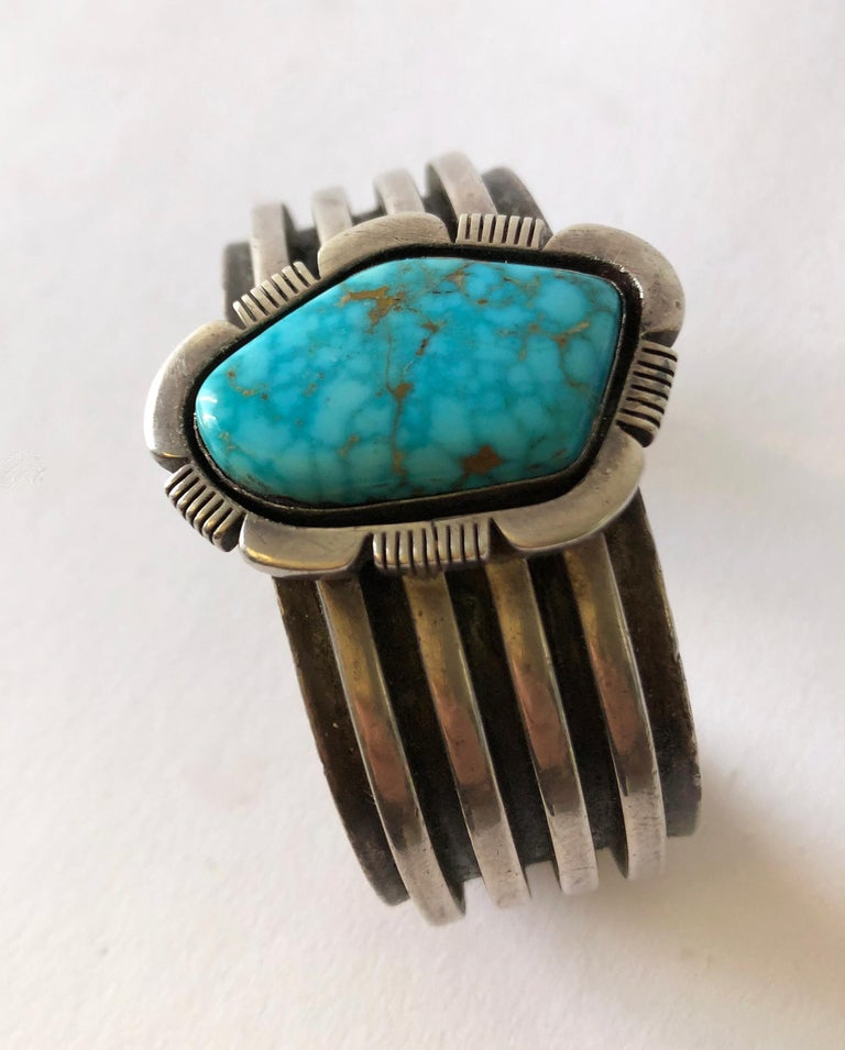 Native American 1970s Sterling Silver and Turquoise Navajo Cuff Bracelet For Sale