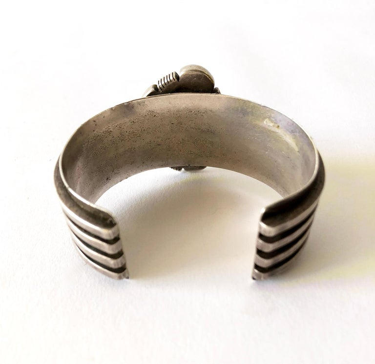 Uncut 1970s Sterling Silver and Turquoise Navajo Cuff Bracelet For Sale