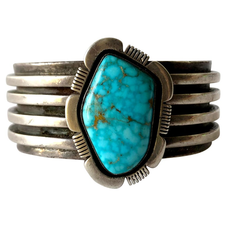 1970s Sterling Silver and Turquoise Navajo Cuff Bracelet For Sale