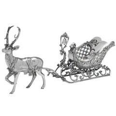 1970s Sterling Silver Reindeer & Sleigh Model, For the Christmas Table
