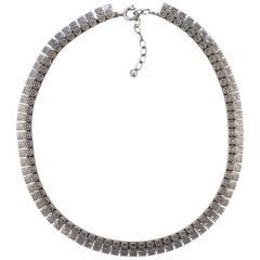 1970s Sterling Silver Textured Link Necklace, London import