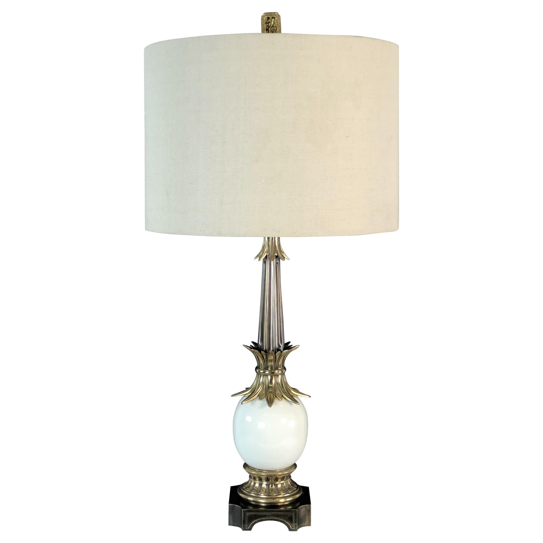 1970s Stiffel Brass and Ceramic Table Lamp