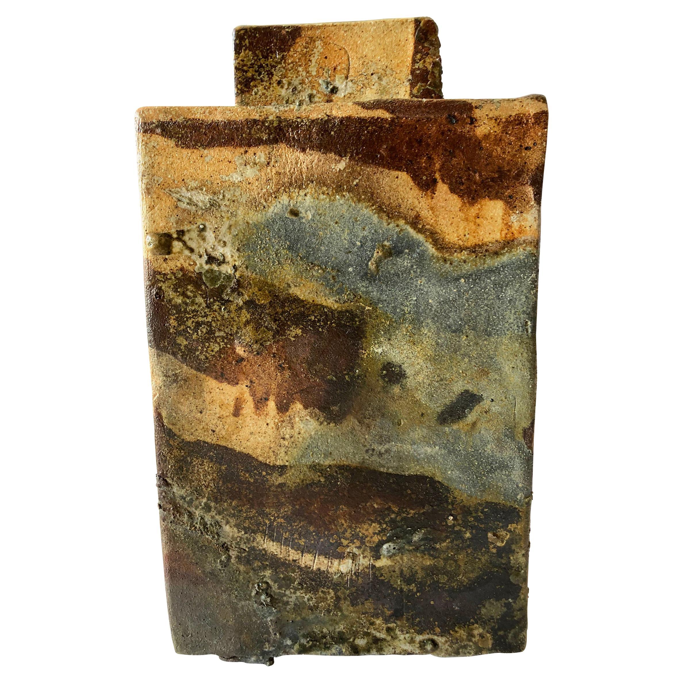 1970s Stoneware California Studio Handmade Slab Built Vase