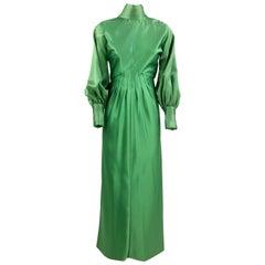 1970s Stop Sénès Green Evening Dress