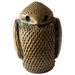 1970s Studio Pottery Stout Stoneware Owl Sculpture by Louis Mclean