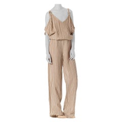 1970S Striped Cotton Blend Linen Jumpsuit With Cold Shoulders & Adjustable Stra