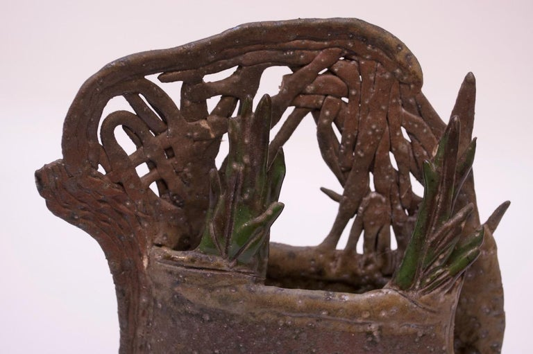 1970s Studio Stoneware Botanical Vase Signed Pollack For Sale 4