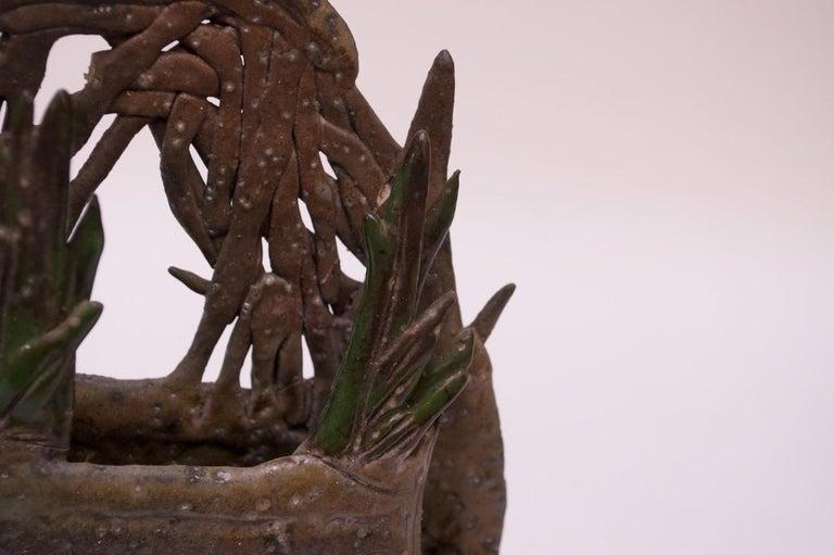 1970s Studio Stoneware Botanical Vase Signed Pollack For Sale 8
