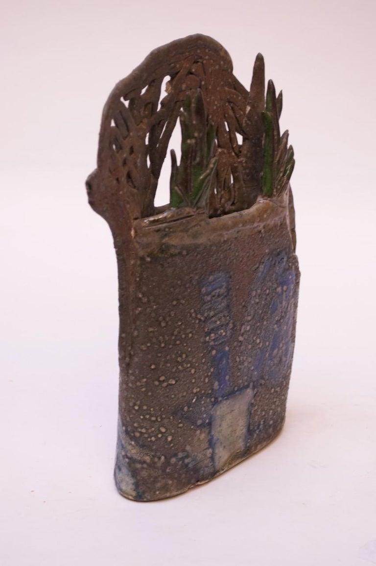 American 1970s Studio Stoneware Botanical Vase Signed Pollack For Sale
