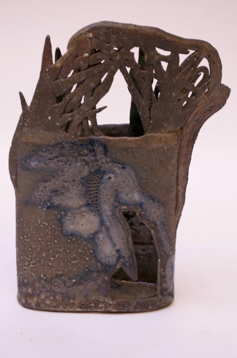 1970s Studio Stoneware Botanical Vase Signed Pollack In Good Condition For Sale In Brooklyn, NY