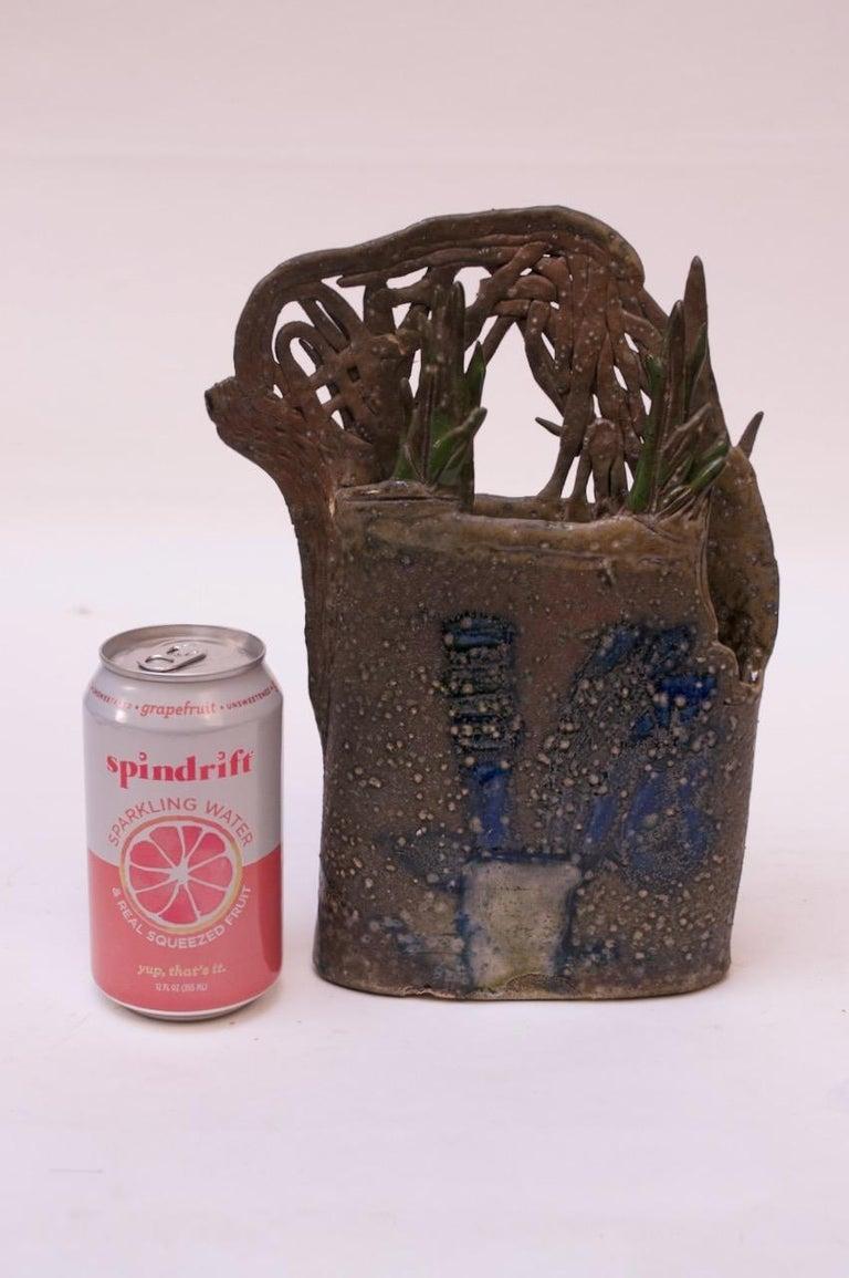 Late 20th Century 1970s Studio Stoneware Botanical Vase Signed Pollack For Sale