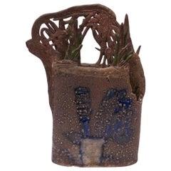 1970s Studio Stoneware Botanical Vase Signed Pollack