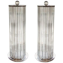 1970s Stunning Murano blown clear Glass Column shaped Floor Lamps Italian, Pair