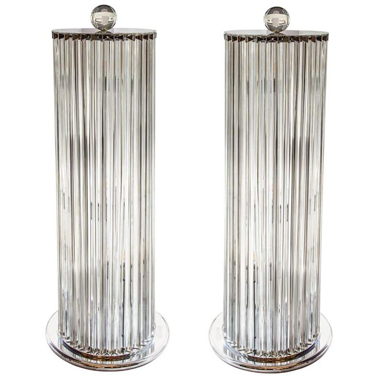 1970s Stunning Murano blown clear Glass Column shaped Floor Lamps Italian, Pair For Sale