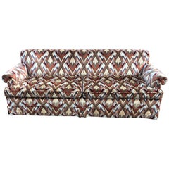 1970s Style Sofa in Jack Lenor Larsen Chevron Fabric