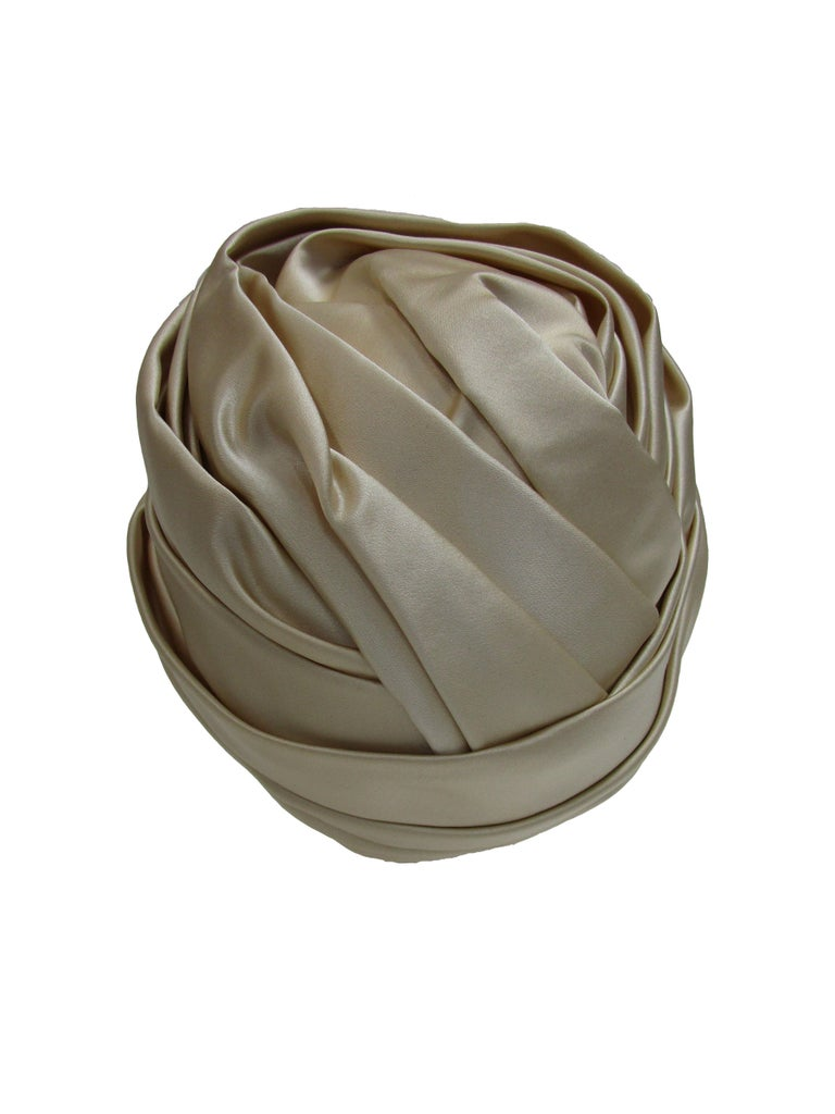 1970's Sublime Irene of New York Champagne Silk Turban In Excellent Condition For Sale In Houston, TX