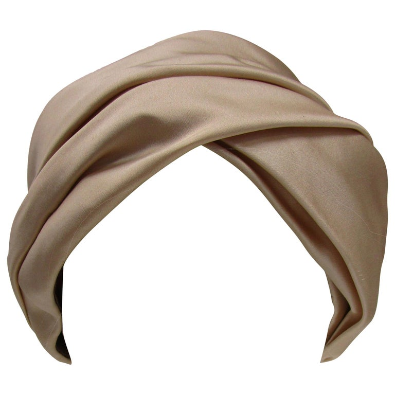 1970's Sublime Irene of New York Champagne Silk Turban For Sale