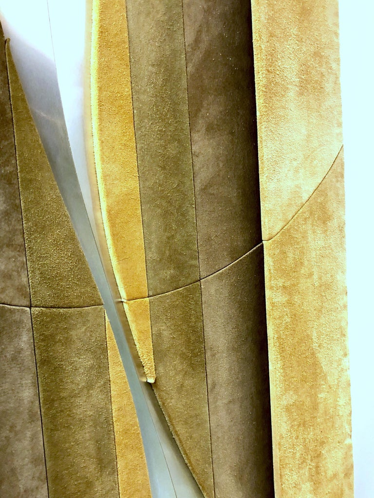 1970s Suede and Metal Large Wall Art Sculpture For Sale 5