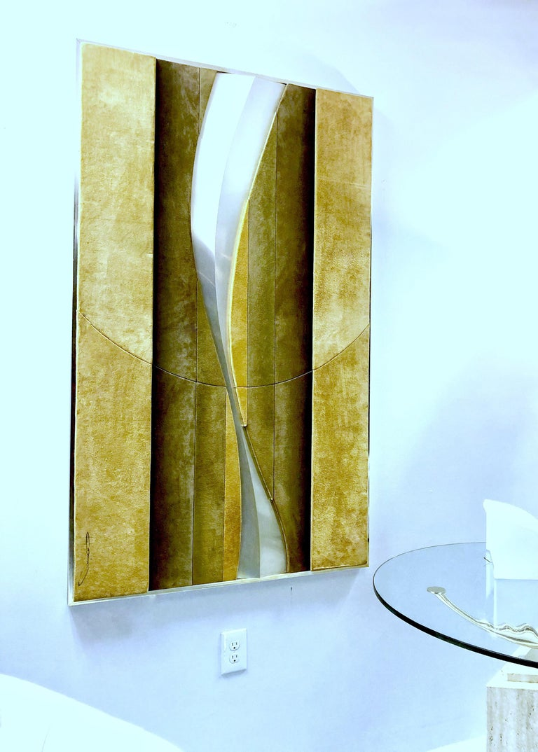 American 1970s Suede and Metal Large Wall Art Sculpture For Sale