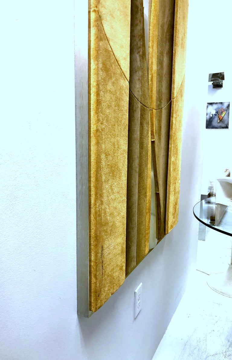 1970s Suede and Metal Large Wall Art Sculpture In Good Condition For Sale In Miami, FL