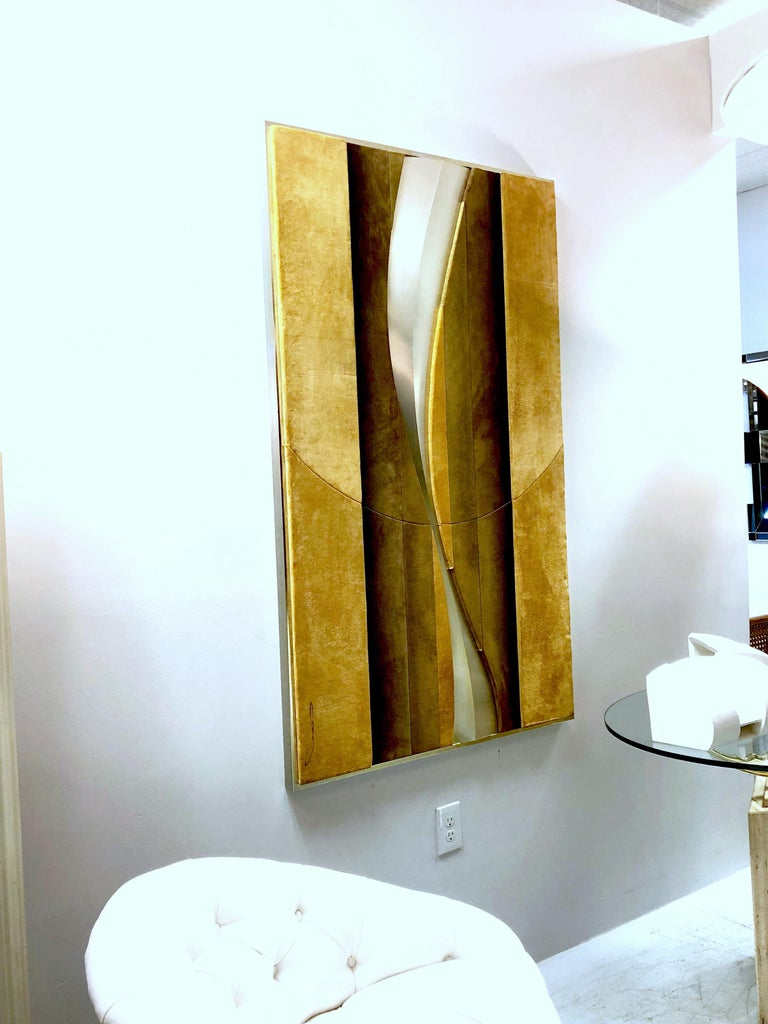 1970s Suede and Metal Large Wall Art Sculpture For Sale 1