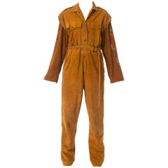 1970S Suede Jumpsuit With Sash Belt