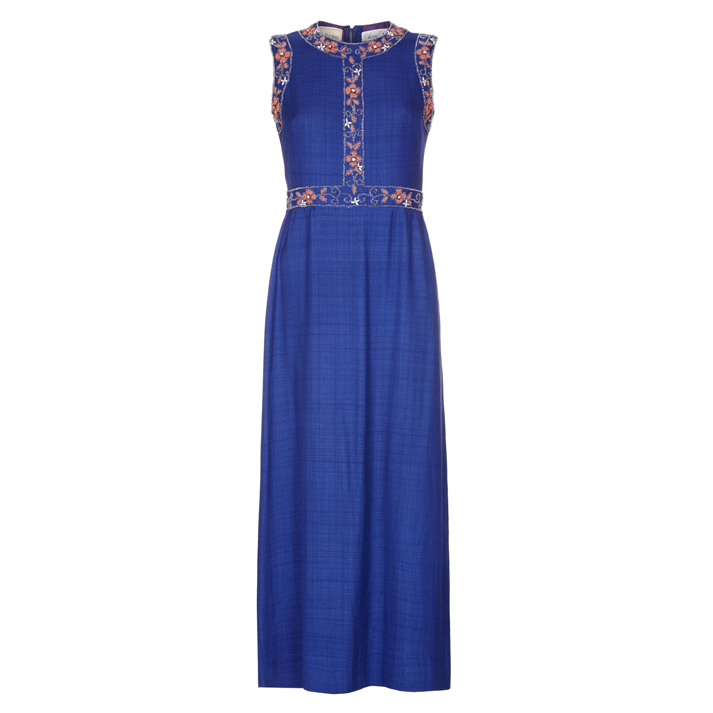 1970s Susan Small Blue Silk/ Linen Beaded Maxi Dress