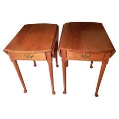 1970s Suters Hepplewhite Pembroke Drop-Leaves Oval Cherry Side Tables