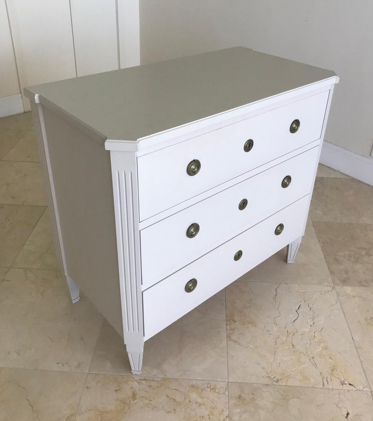 Hand-Carved 1970's Swedish Chest of Drawers in Hand Painted Ivory Wood For Sale